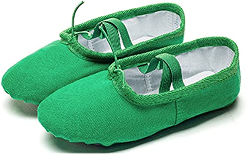 HOOPOO Ballet Shoes Kids,Ballet Flats Split Leather Sole Dance Slippers For Girls Toddlers Women Green (Color : Green, Size : 38 23cm)