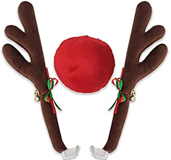 OxGord Car Reindeer Antlers & Nose - Christmas Decorations for Car - Window Roof-Top & Grille Rudolph Reindeer Kit - Auto Holiday Accessories Decoration Kit Best for Car SUV Van Truck