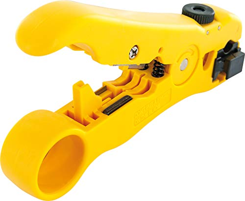 SCHWAIGER -5187- Abisolier-Zange zum abisolieren von Antennen-Kabel/TV-Kabel/Koaxial-Kabel/Netzwerk-Kabel/Ethernet Kabel/integrierte Cutter-Klingen/Abisolierer mit stabilen Griff