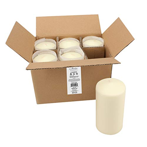 Stonebriar SB-SP-3548A Tall 3 x 6 Inch Unscented Ivory Pillar Candle Set, Set of 6, 3x6