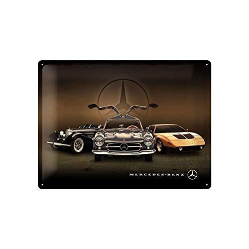 Nostalgic-Art Cartel de chapa retro Mercedes-Benz – 3 Cars – Idea de regalo para los fans de los coches, metálico, Diseño vintage, 30 x 40 cm