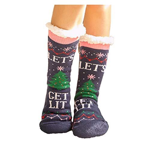 CHENGCHAO calcetín Deslizador de Las Mujeres Calcetines de Santa Ciervos Gruesa Lana Forro de Punto Animal Antideslizante Medias de la Navidad Caliente acogedora Fuzzy Calcetines caseros Movimiento