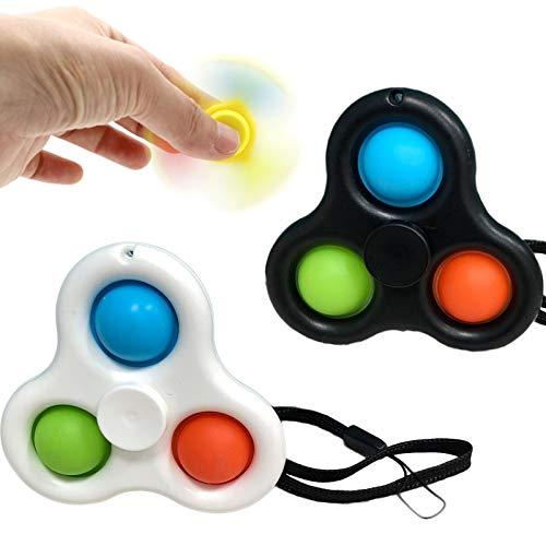 2 en 1 Push Pop Bubble Sensory Fidget Toy Stress Relief,Fidget Spinner, para apretar, Ideales para aliviar el estrés y la ansiedad, para niños y Adultos A3