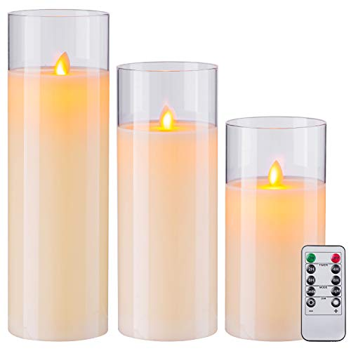 Aku Tonpa 8' 10' 12' Pack of 3 Flameless Candles Battery Operated Pillar Real Wax Flickering Moving Wick LED Glass Candle Sets with Remote Control Cycling 24 Hours Timer