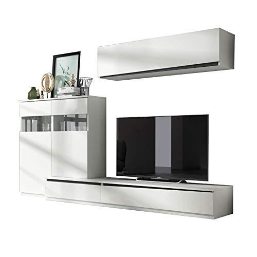 Tousmesmeubles Composition TV Bois Blanc/Bois Noir - Camelia n°2 - L 285 x l 45 x H 180 - Neuf