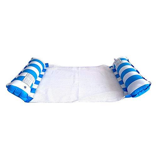 SZWL Cama hinchable para piscina con respaldo de red, 4 en 1, para adultos y niños (azul)