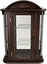 Design Toscano Rosedale Glass Wall Mounted Storage Curio Cabinet, 22 Inch, Mahogany
