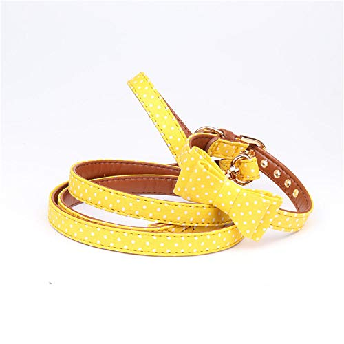 Hondenhalsband, geel polka dot pet bug hondenriem set Gentleman zachte veilige hond halsband voor alle seizoenen ademende gewatteerde gezellige lichte outdoor wandelen opvoedingshalsband, 1.5*47CM