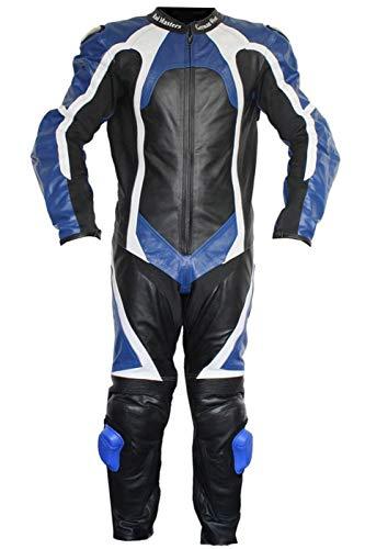 German Wear Einteiler Motorradkombi Lederkombi aus Büffelleder echtleder Kombi, 60/4XL, Farbe:Blau