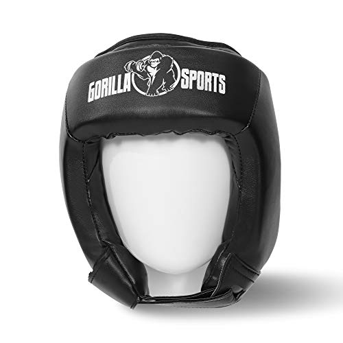 Gorilla Sports Kopfschutz Gesichtsschutz Headgear schwarz S L für Sparring Boxen Kickboxen Muay Thai MMA