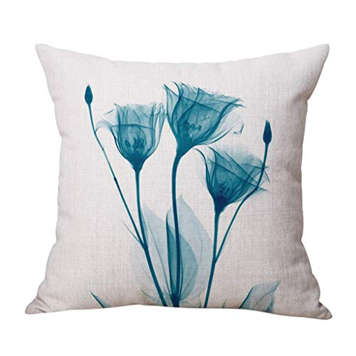 Best Decorative Pillow Covers, Snowfoller Blooming Tulip Rose Printed Backrest Cushion Cover Linen 18X18 Inches(G)