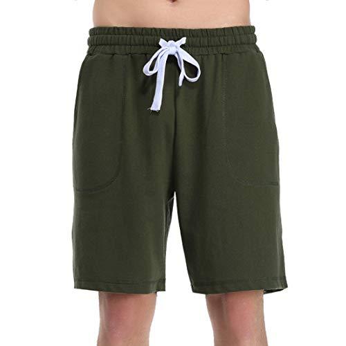 Hawiton Herren Sportshorts Sweatshorts Kurz Sportwear Shorts Sport Hose Schlafanzughose Pyjamahose Baumwolle Shorty Grün L