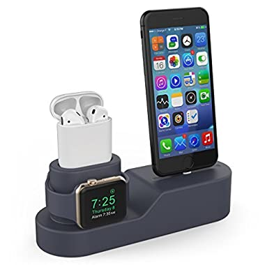 AhaStyle Silicone 3 in 1 Stand for Apple AirPods, Apple Watch and iPhone-Navy Blue