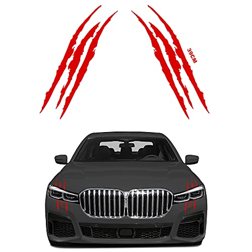 ESTORE-24 2PC Reflektierender Aufkleber Auto Monster Klaue Kratzer Marks Aufkleber Sticker Wasserdicht Scheinwerfer Aufkleber Fit fürs Auto Motorrad Folie (Rot)