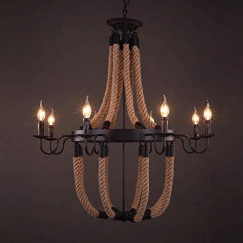 Deng diaodeng Schmiede Hanfseil Kronleuchter Industrie Wind Retro Kerzenhalter Dekoratives Licht for Esszimmer Wohnzimmer Kronleuchter