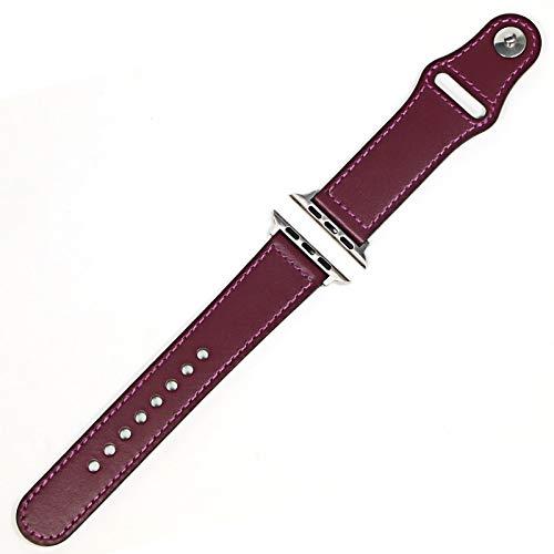 KAAGGF Correa de Lazo de Cuero Genuino para la Banda de Reloj de Apple 42mm 44mm Watch 4 5 38mm 40mm IWatch 3/2/1 Correa Reemplazo Pulsera (Band Color : Purple Silver, Band Width : 40MM)