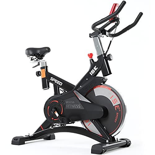 ISE Bicicletta Cyclette Indoor con Volano 13 KG & Resistenza Regolabile, Bici da Fitness Ergonomica con Sensore di Impulso, Porta Celullare, Ruote di Trasporto, Max.120KG, SY-7005-1