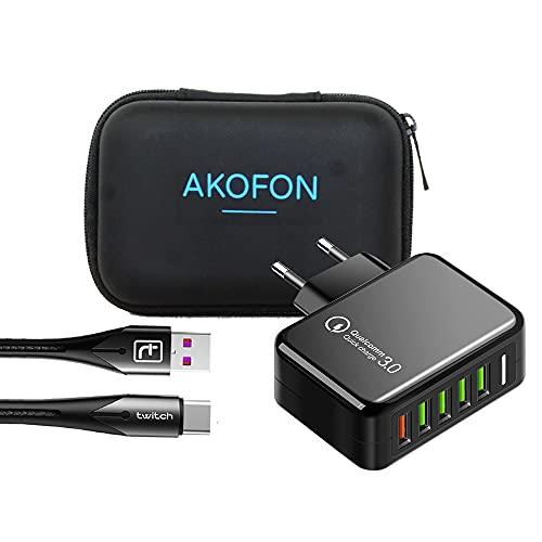 Cargador rápido 36w USB,Quick Charge 3.0 Cargador USB de Pared 5 Puertos de Cargador Móvil Rápido Cable 3.0 para Xiaomi, iPhone Xr/Xs/X/8Plus/ 8, Samsung Galaxy S10/S9/S8+Huawei Akofon (Black)