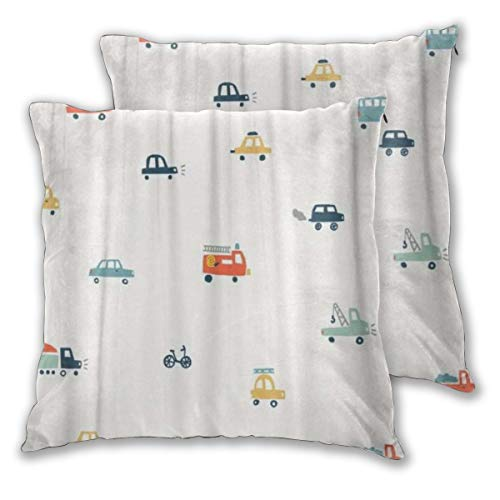 KASABULL Throw Pillow Covers Set of 2 Truck With Cute Color Cars Abstract Baby Bike Boy Bright Child City Pillowcase Decorative Cushion Cover without Pillow 60cm x 60cm