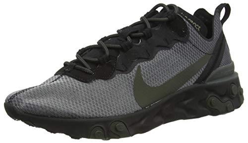 Nike React Element 55, Running Shoe Mens, Negro/Sequoia/Medium Olive, 42 EU
