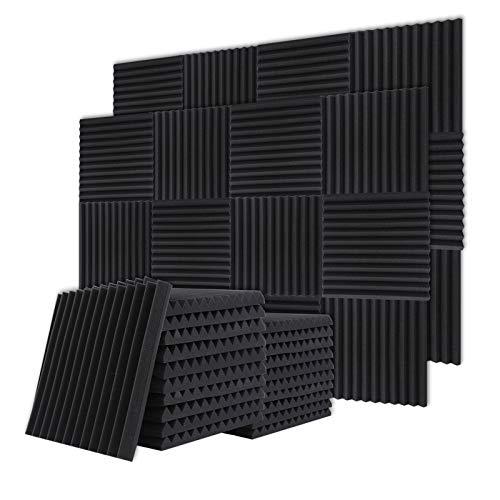 BUBOS Akustikschaumstoff Platten Schall Dämmung 12 Stück für Tonstudio, Büro, Arbeitszimmer, Partykeller, Heimstudio (30x30x2.5cm) (12 Stück)