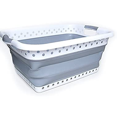 Collapsible Laundry Baskets - Space Saving (Gray)