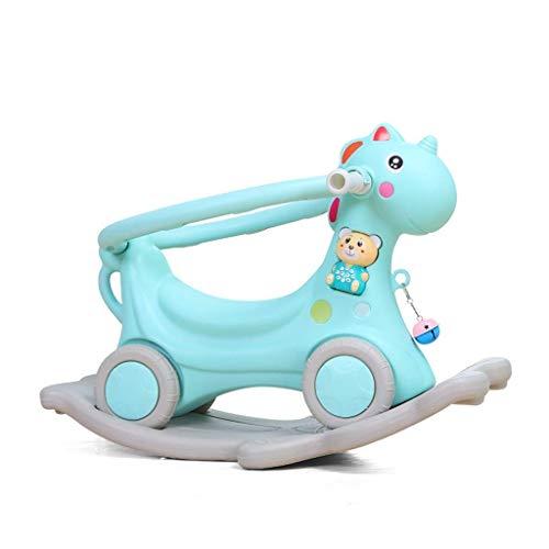 Sofa Children's Rocking Horse Small Trojan Kinderen kunststof producten for tweeërlei gebruik van de baby 1-3 jaar oud Gifts Baby speelgoed Thicken Lostgaming (Kleur: Blauw) (Color : Blue)