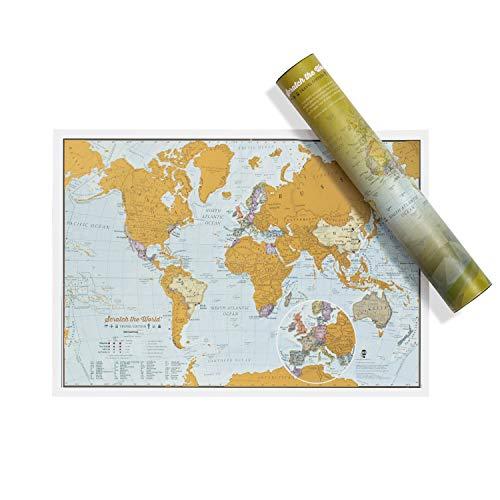 Carte du monde Scratch the World - édition de voyage - cadeau de voyage - format A3 42cm (largeur) x 29,7 cm (hauteur)
