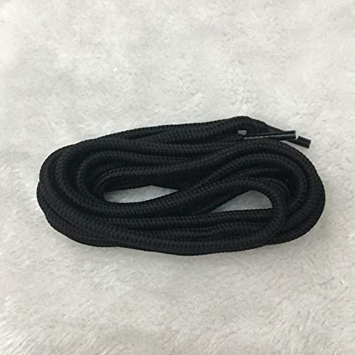 QWERTYU RIIANME 1 paar, rond, veters, solide, polyester, veterschoenen, vaste, klassieke schoenen, ronde punt, sneakers, laarzen string YD-1, 120CM, Zwart
