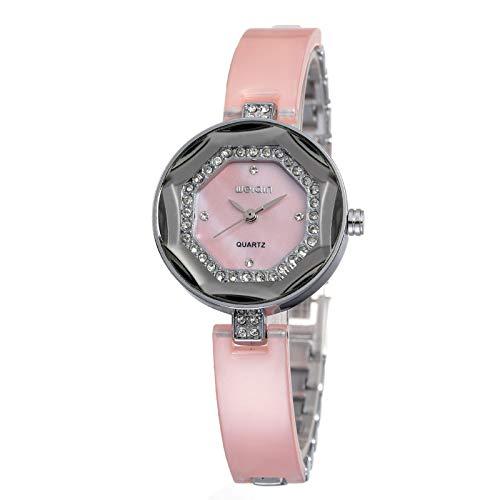 FENKOO Schöne Armbanduhren Weiqin Damen Mode Uhr Diamant Spiegel mit Diamant Shell Metall Kette Armbanduhr (Color : 3)