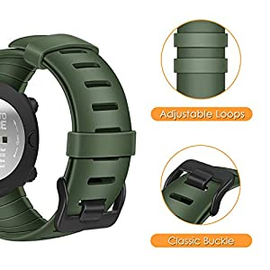 Fintie Watch Band Compatible with Suunto Core, Rubber Accessory Strap Replacement Wrist Sport Bands w/Metal Clasp Compatible with Suunto Core Smartwatch, Olive