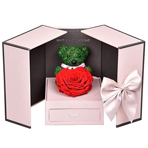 SETSCZY Regalos para San Valentin, Rosa Eterna, Flower Jewelry Caja de Regalo para Mujer Su Novia Aniversario San Valentín,A