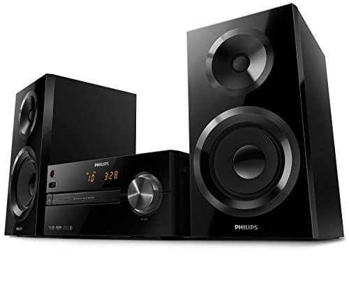 Philips BTM2560/12 Mini Stereoanlage mit Bluetooth (USB, CD, UKW, Alarm, 70 W) schwarz