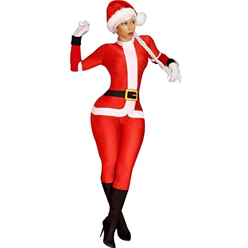 Bravetoshop Women's Novelty Christmas Cosplay Holiday Santa Claus Costume Adult Onesie Pajamas Jumpsuit(Red,M)