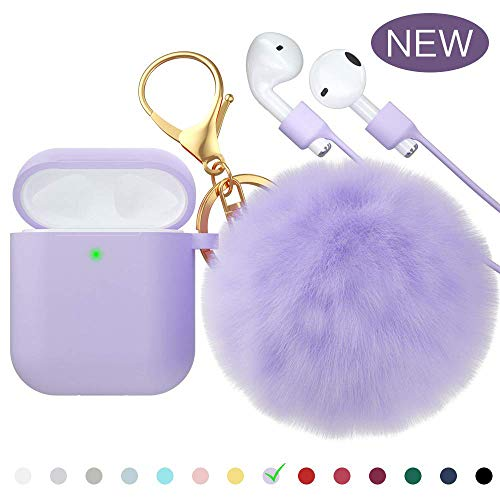 for Airpods Case, CTYBB Silicone Airpods Case Cover with Fur Ball Keychain Compatible with Apple Airpods 2/1 (Front LED Visible)