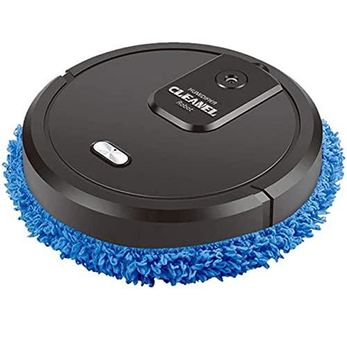 FMGR Limpiador de aspiradora Inteligente, Spray de humidificación, Robot Recargable Mojado y seco, inducción automática, evite una colisión innecesaria, Adecuada para alfombras y Pisos Duros,Negro