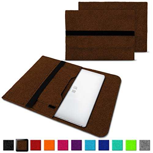 NAUC Laptoptasche Sleeve Schutztasche Hülle für Trekstor Surfbook W1 W2 Netbook Ultrabook 14,1 Zoll Laptop Filz Case, Farben:Braun