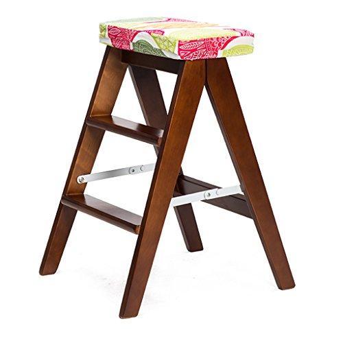 Tritthocker Klappstufen Hockerleiter Holz Holzleiter Stuhl Multifunktionale Holzleiter Stuhl Faltbare Regalleiter mit 2/3 Schritte für Heimtextilien und Bibliothek (Farbe : #2)
