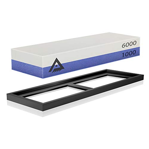 Knife Sharpening Stone Whetstone 2 Side Grit 1000/6000 Sharpener Stone - Whetstone Sharpening Set for Kitchen Knives, Chisel with Non-Slip Holder Base and User Guide
