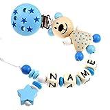 PREMIUM Schnullerkette mit Namen HOLZ Modell Teddybär Sterne blau