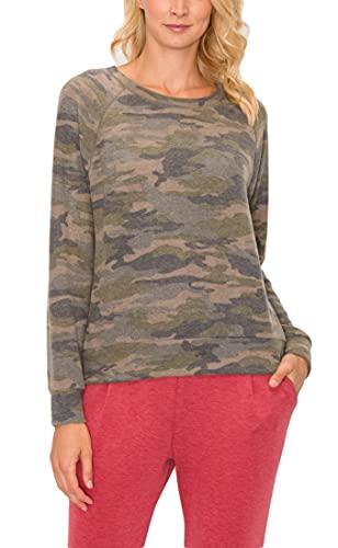 COTTON INNOVATION Women's Sweatshirt Pullover - Long Sleeve Raglan Crewneck Cozy Casual Camo Printed Soft Sweater Tunic T Shirt Top 1069-ABD OLVMOC M