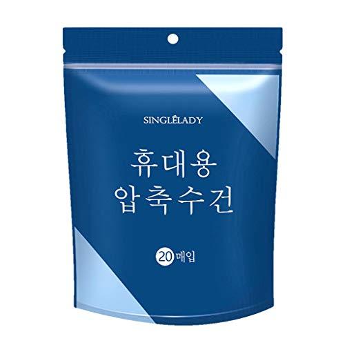 Andouy 20/40 Stück Trockentücher in Form von Tabletten, Handtuchpillen, Gepresstes Mini-Handtuch, Geschirrtuch, Erfrischungstuch mit Wasser, Reinigungstuch(28X24CM.Blau20)