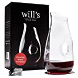 Decanter - Glass Vase Red Wine Aerator - Gift Accessories - Clear Carafe with Cleaning Beads - Holds 750mL bottle