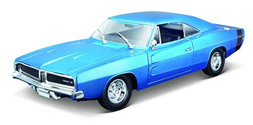 Maisto Dodge Charger R/T ~69, modelauto met vering, schaal 1:18, deuren en motorkap beweegbaar, klaar model, bestuurbaar, 24 cm, blauw (31387)