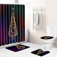 12フック+バスマットトイレ蓋カバーノンスリップ敷物、浴室のためのクリスマスシャワーカーテンセット付き(クリスマスツリー)180センチメートル防水簡単にきれいなバスタブのカーテン、 color-45*75cm
