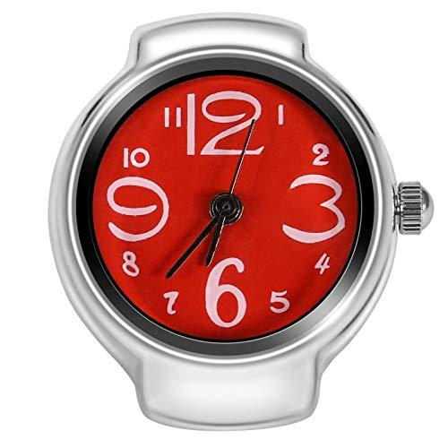 Reloj De Anillo De 8 Colores Para Mujeres Y Hombres Reloj De Cuarzo Analógico Reloj De Dedo Con Banda Elástica Para El Día De San Valentín De Navidad(rojo)