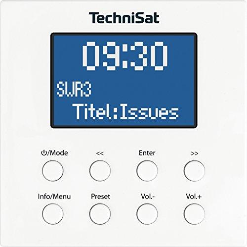 TechniSat DIGITRADIO UP 1 - DAB+ Unterputzradio zur Anbringung in jeder Doppel Unterputzdose (DAB, UKW, Bluetooth-Empfang, dimmbares LCD-Display, Wecker, Sleeptimer, 2 Watt RMS, Equalizer) weiß
