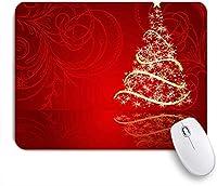 MISCERY マウスパッド Fir Year Christmas郵便ツリースターおめでとうリボン新しい休日の冬にリボン 高級感 おしゃれ 防水 端ステッチ 耐久性が良い 滑らかな表面 滑り止めゴム底 24cmx20cm