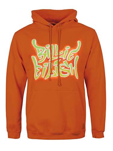 Billie Eilish Sudadera Oficial con Capucha y Estampado Airbrush Flames - Naranja L