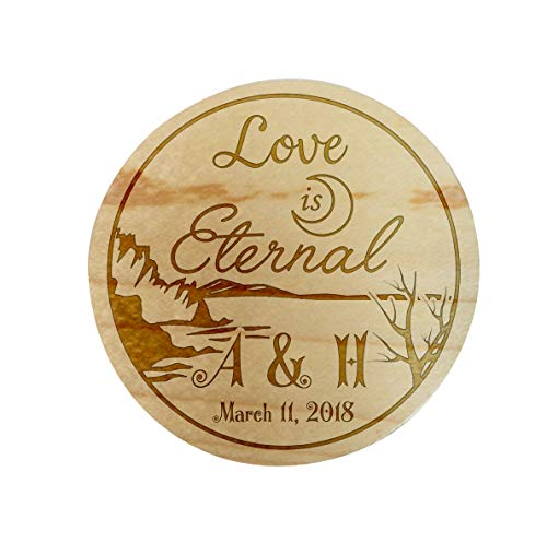 Custom Personalized Maple Wood Ring Box 3D Laser Engraved Holder Rustic Relationship Keepsake Wedding, Proposal, Engagement, Ring Bearer, Promise Ring (Love is Eternal)